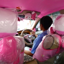 This picture doesn't even begin to convey how much Hello Kitty gear was in this cab.